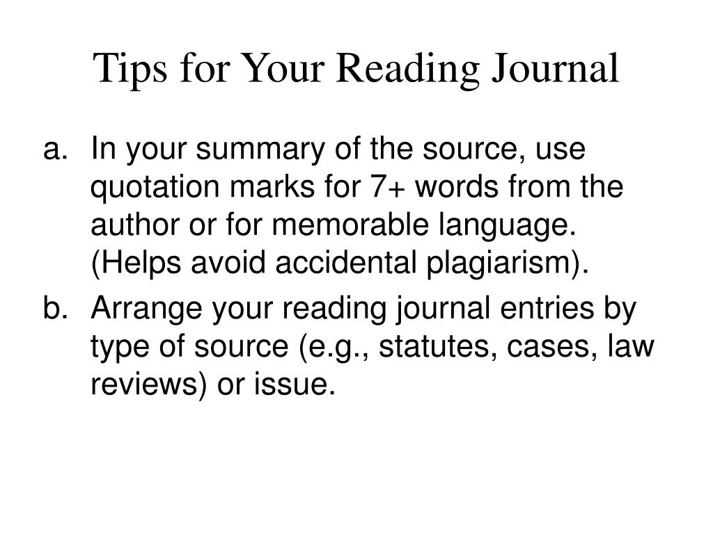 Tips for Your Reading Journal