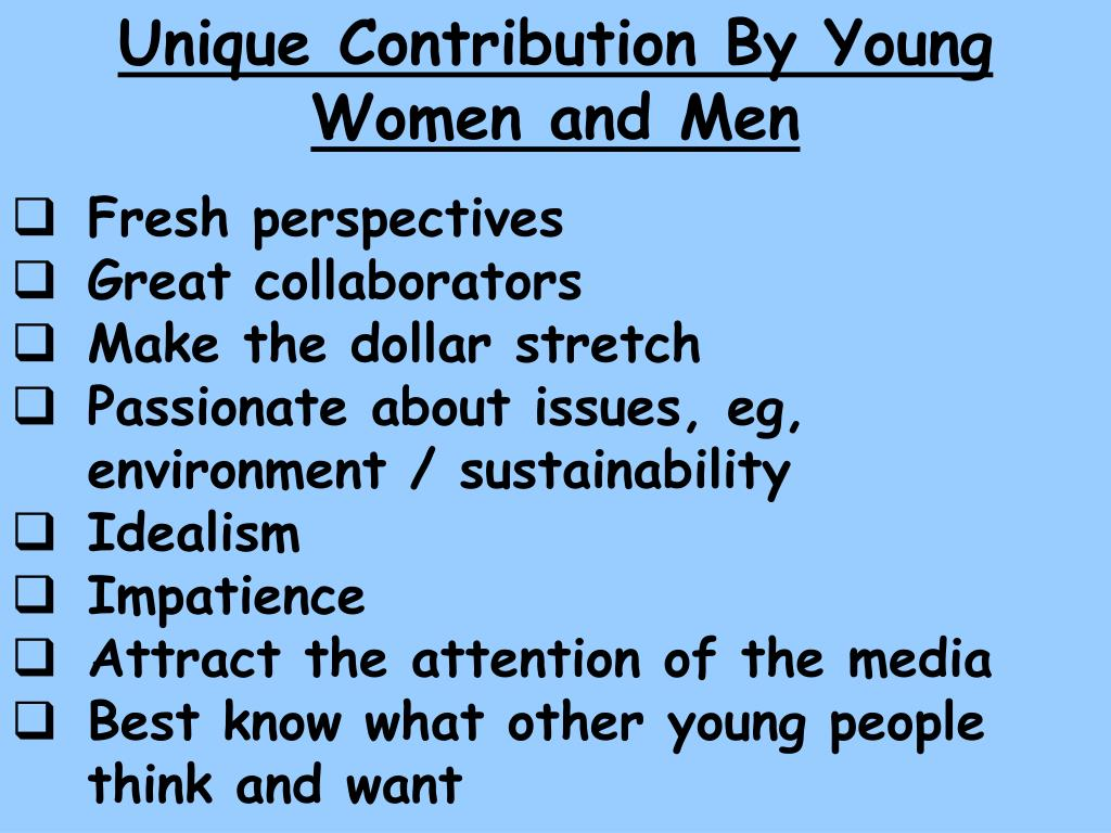 Unique Contribution By Young Women and Men