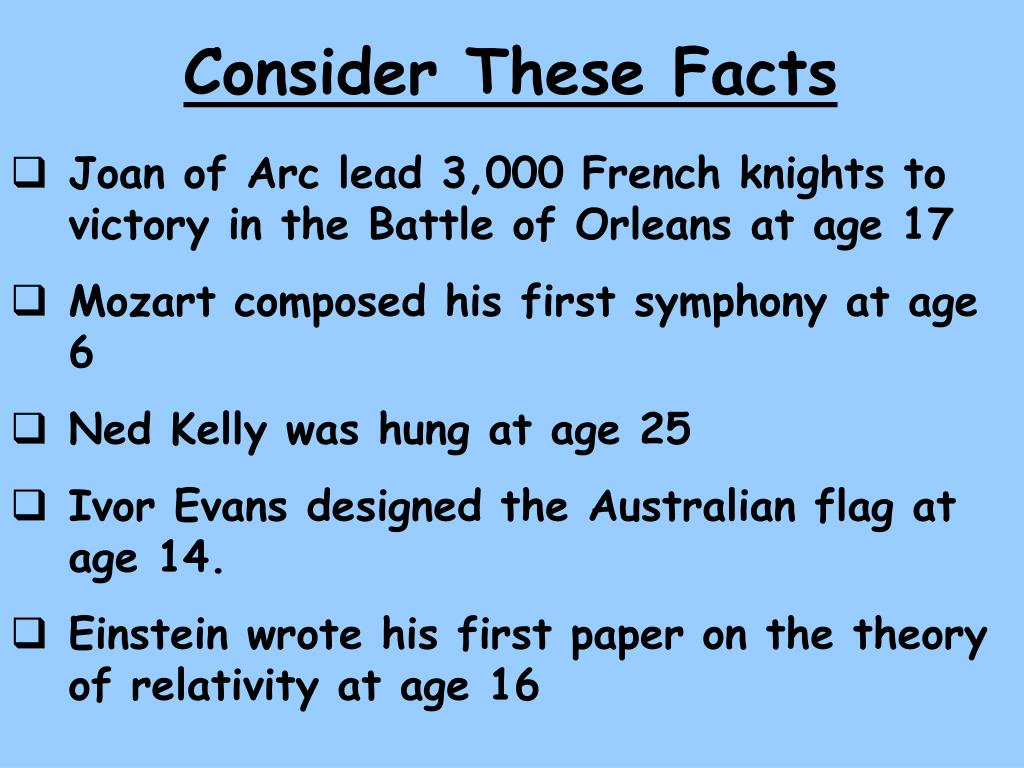 Consider These Facts