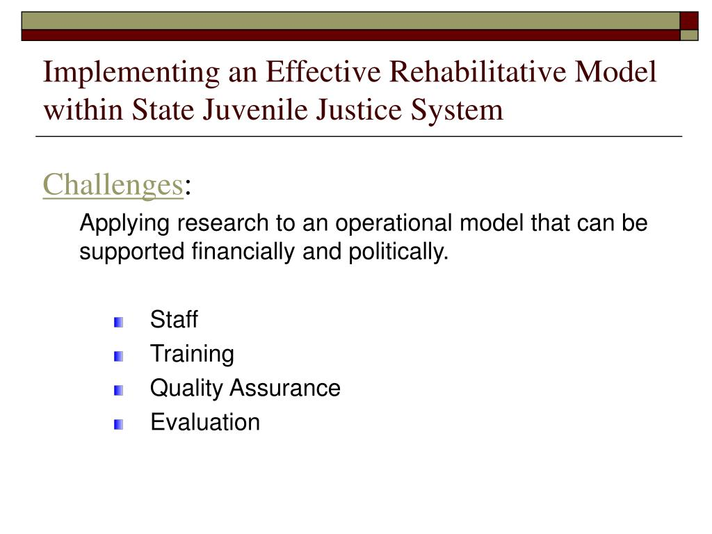 Implementing an Effective Rehabilitative Model within State Juvenile Justice System