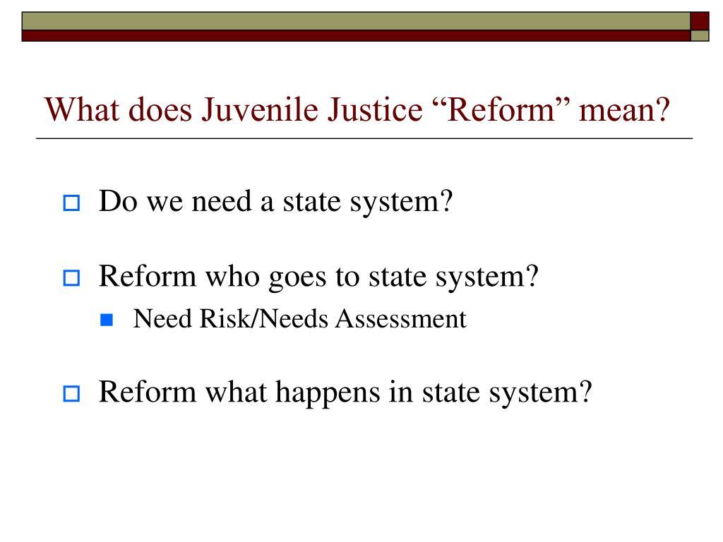 "What does Juvenile Justice ""Reform"" mean?"