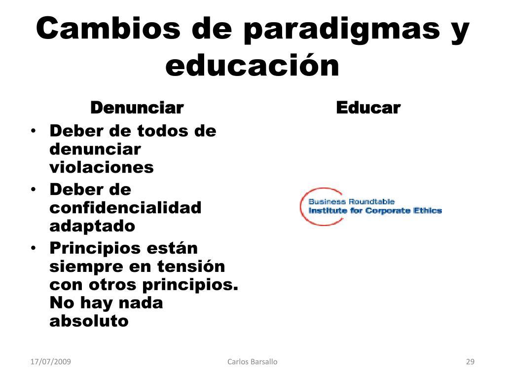 Cambios de paradigmas y educación