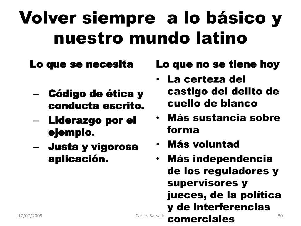 Volver siempre  a lo básico y nuestro mundo latino