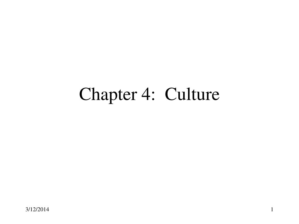 Chapter 4:  Culture
