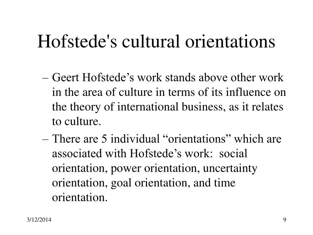 Hofstede's cultural orientations