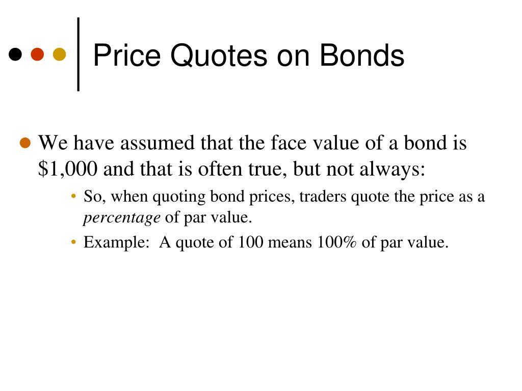 Price Quotes on Bonds
