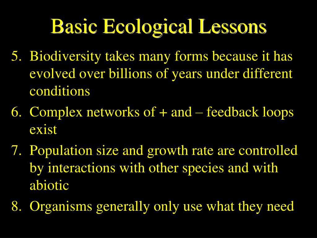 Basic Ecological Lessons