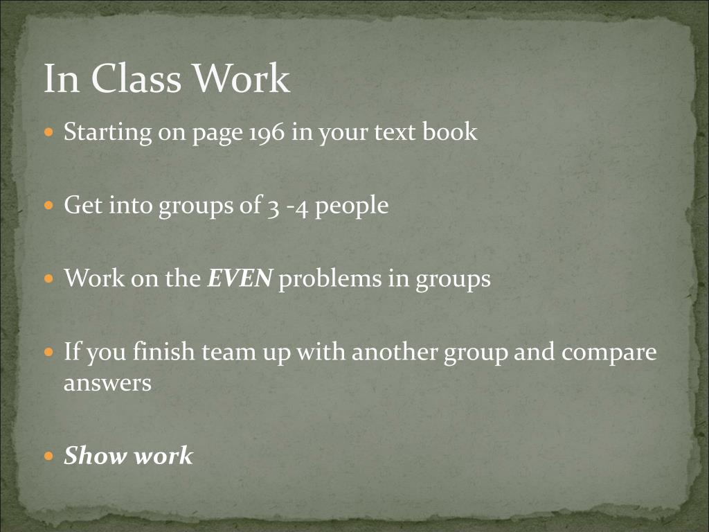 In Class Work
