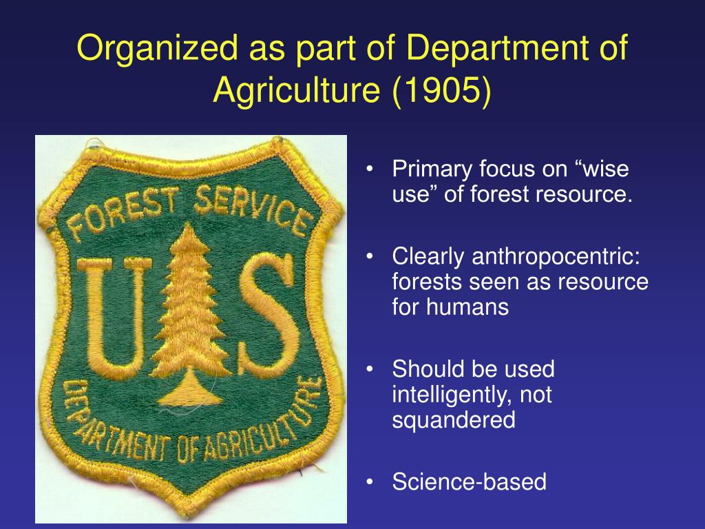 Organized as part of Department of Agriculture (1905)