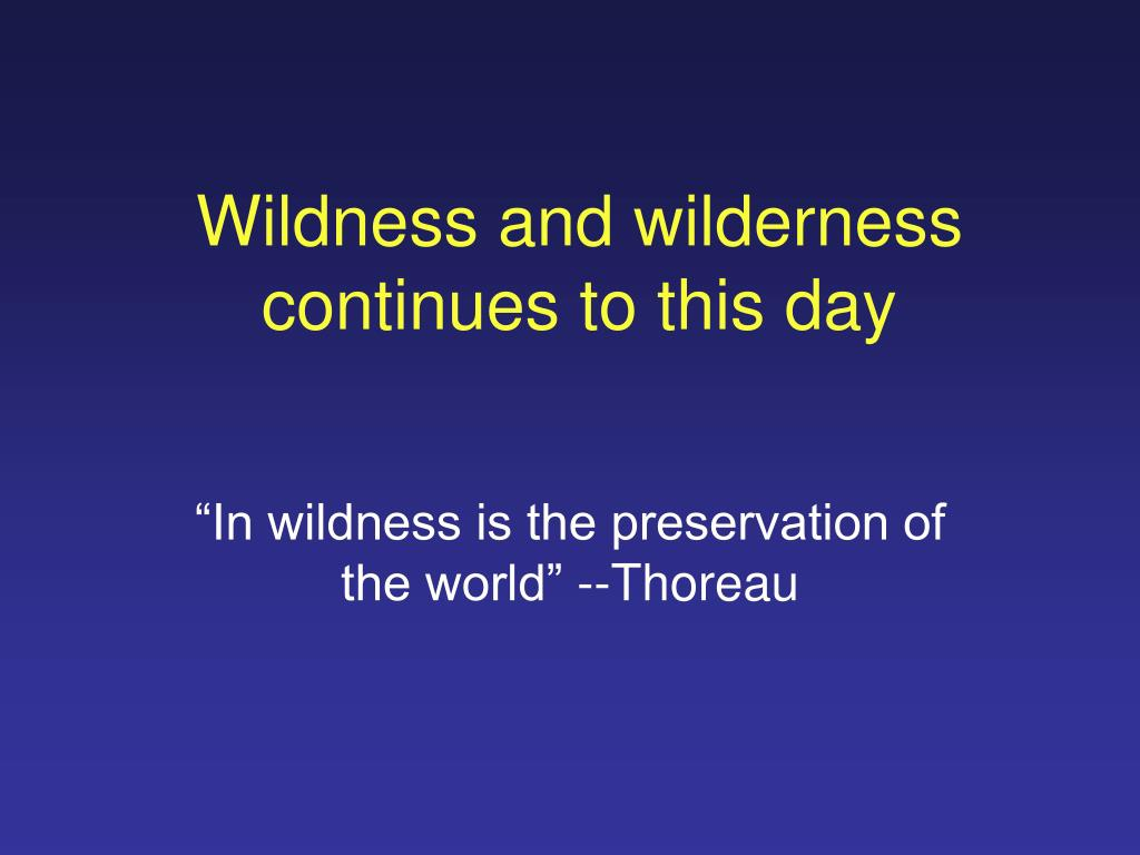 Wildness and wilderness continues to this day