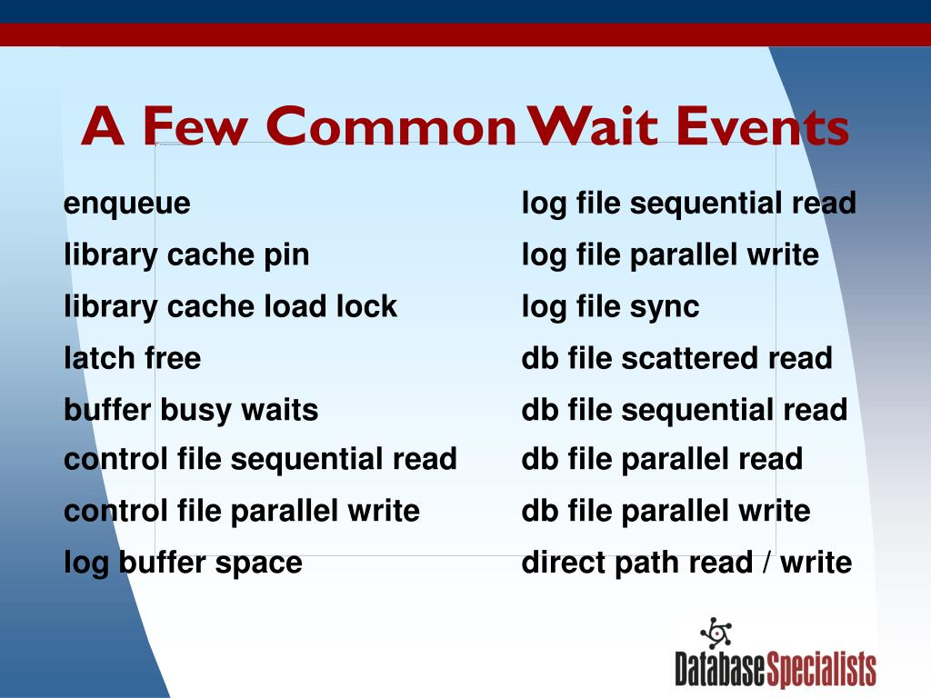 A Few Common Wait Events