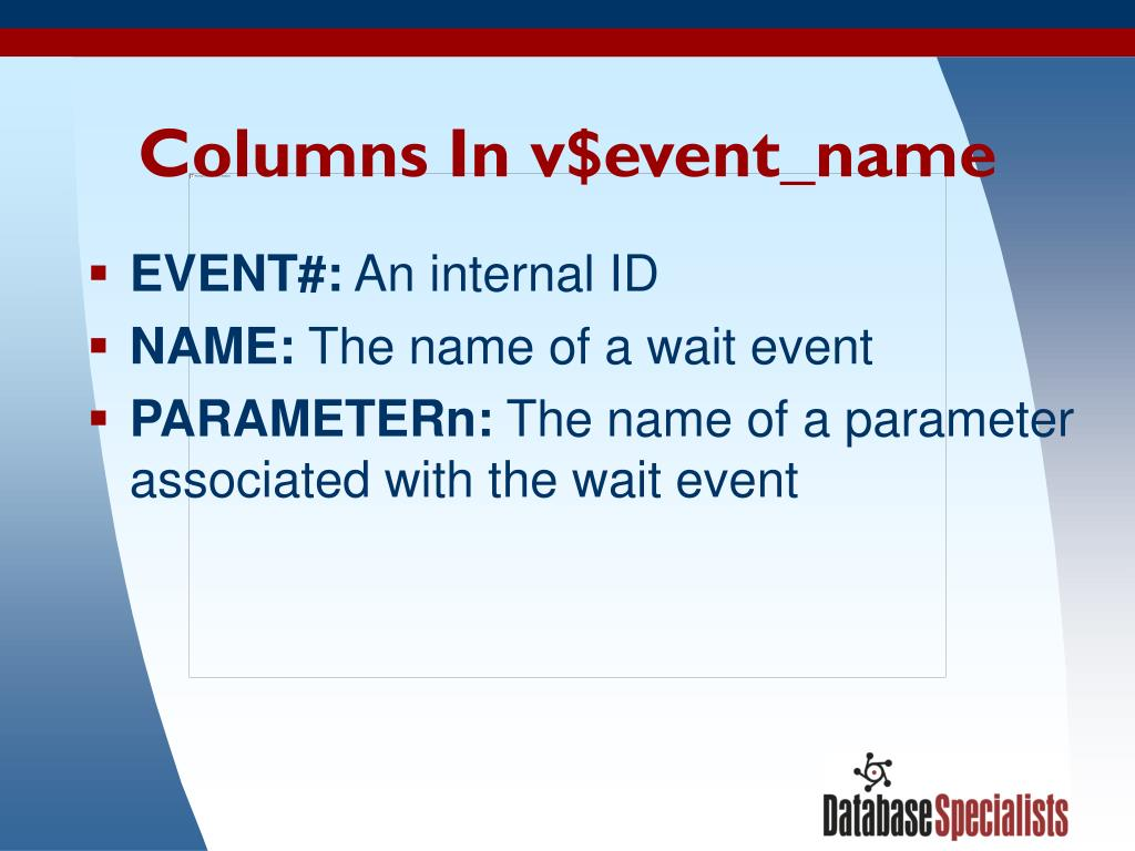 Columns In v$event_name