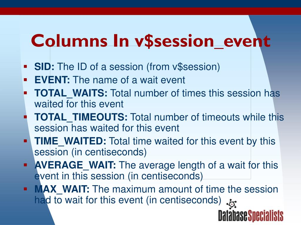 Columns In v$session_event