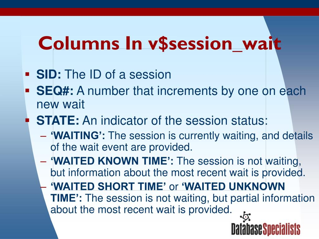 Columns In v$session_wait