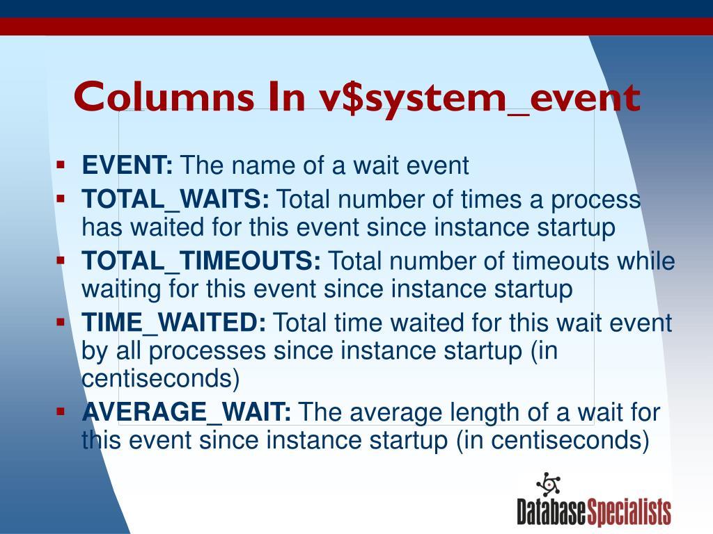 Columns In v$system_event