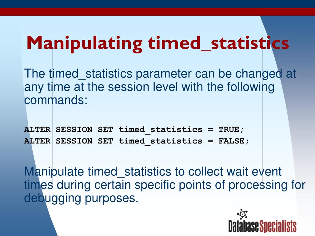 Manipulating timed_statistics
