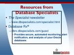 resources from database specialists