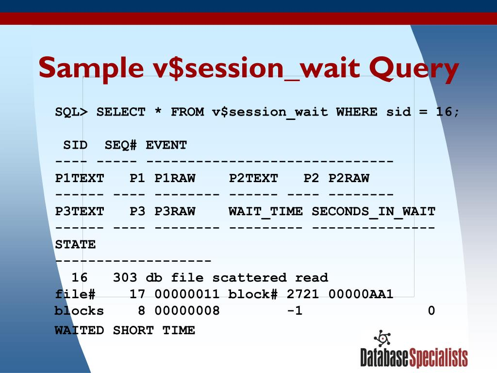 Sample v$session_wait Query