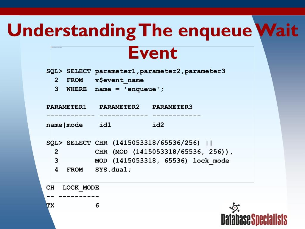Understanding The enqueue Wait Event