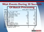 wait events during 30 seconds of batch processing
