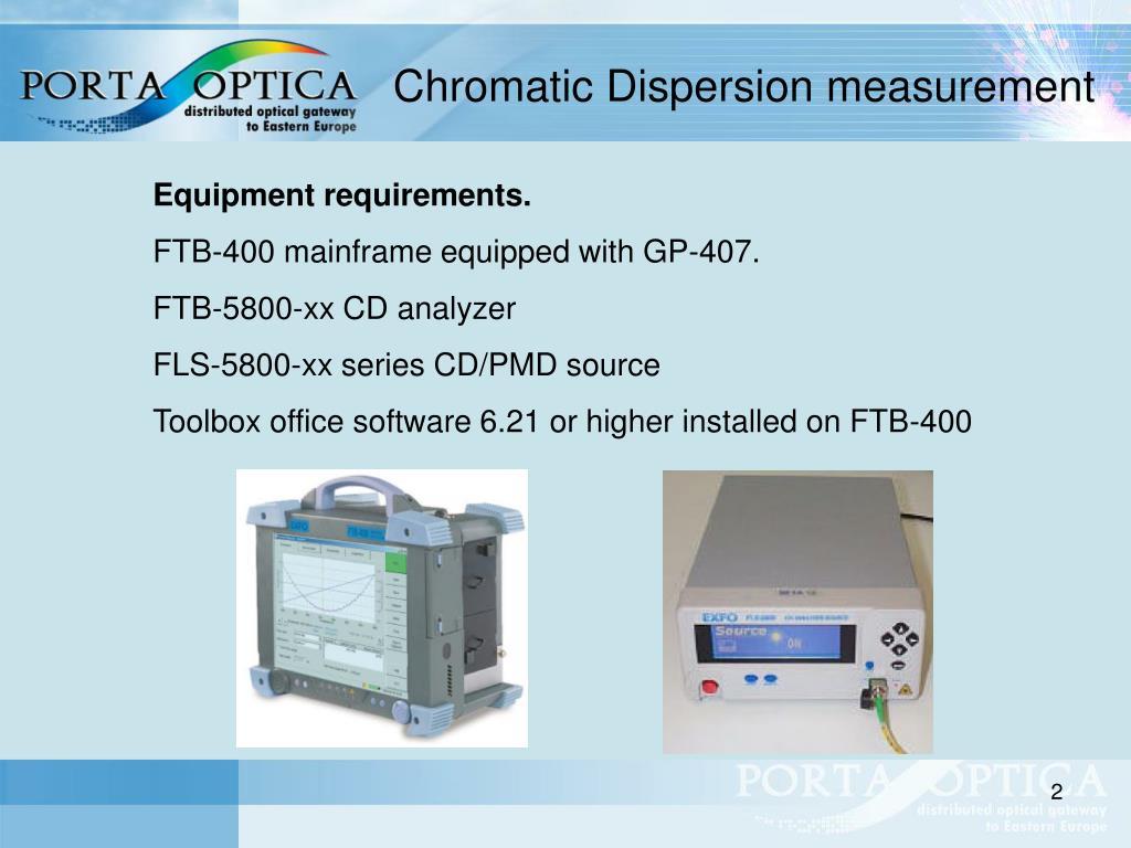 Chromatic Dispersion measurement