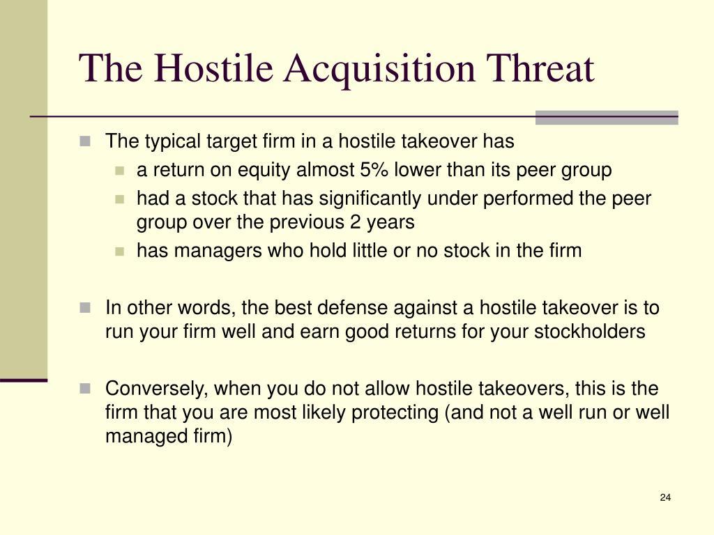 Stock options hostile takeover