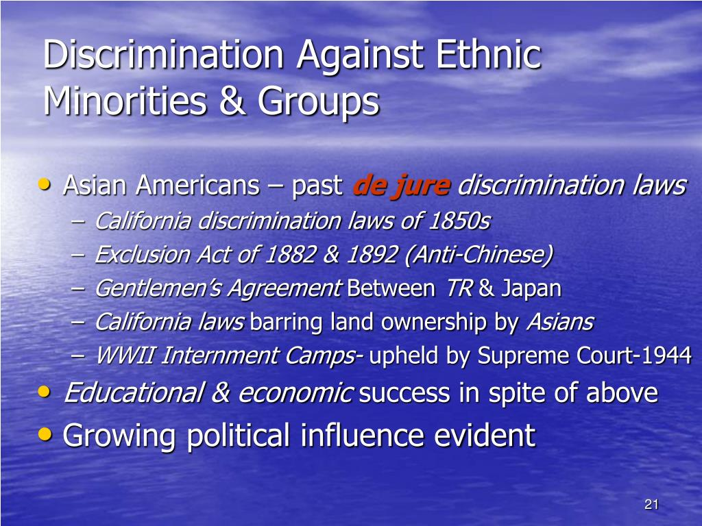 discrimination against minority groups Racial discrimination previals - minorities ill treated the discrimination against minorities is the juveniles belonging to minority groups constituted.