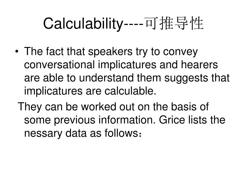 Calculability----