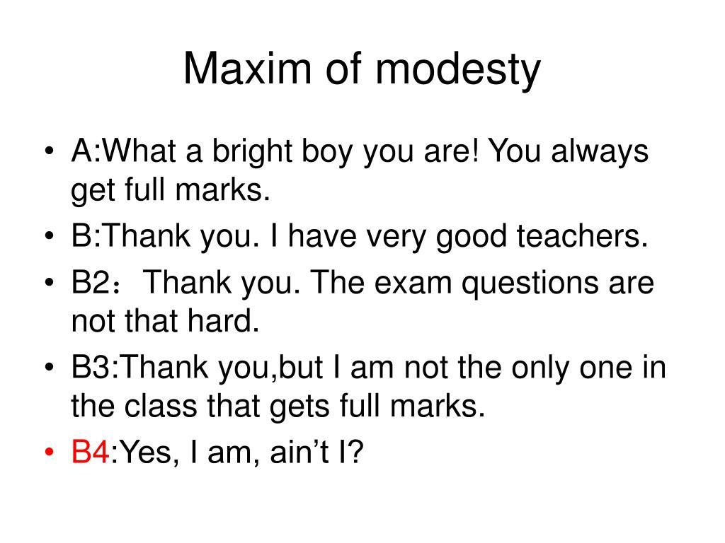 Maxim of modesty