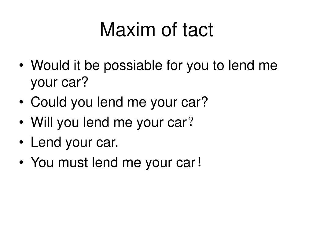 Maxim of tact