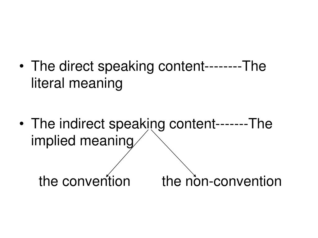 The direct speaking content--------The literal meaning
