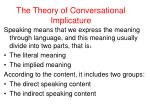 the theory of conversational implicature