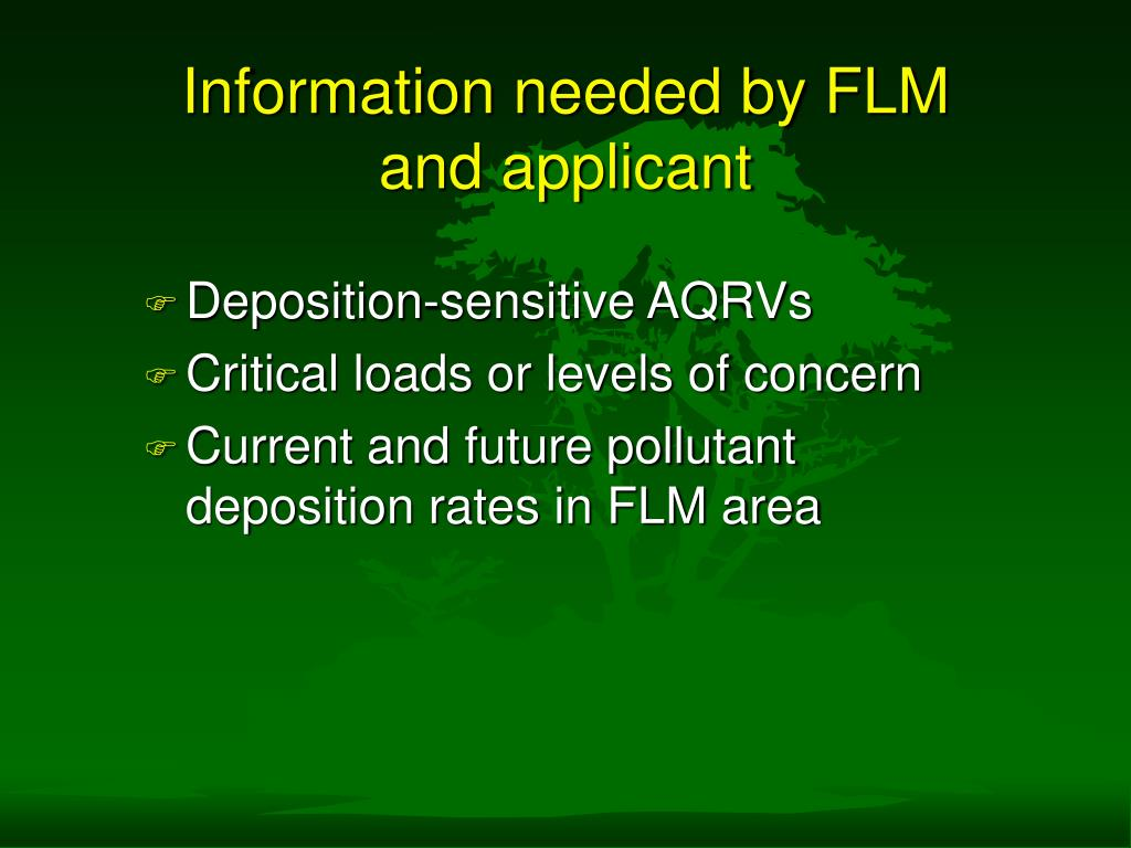 Information needed by FLM and applicant