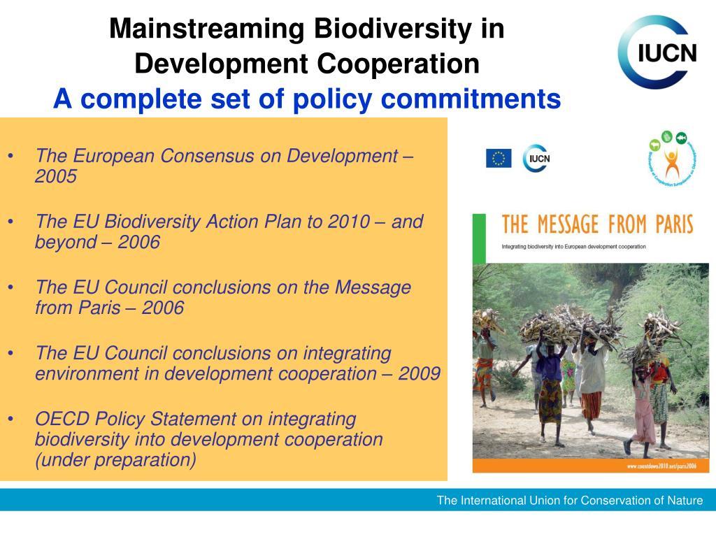 Mainstreaming Biodiversity in Development Cooperation