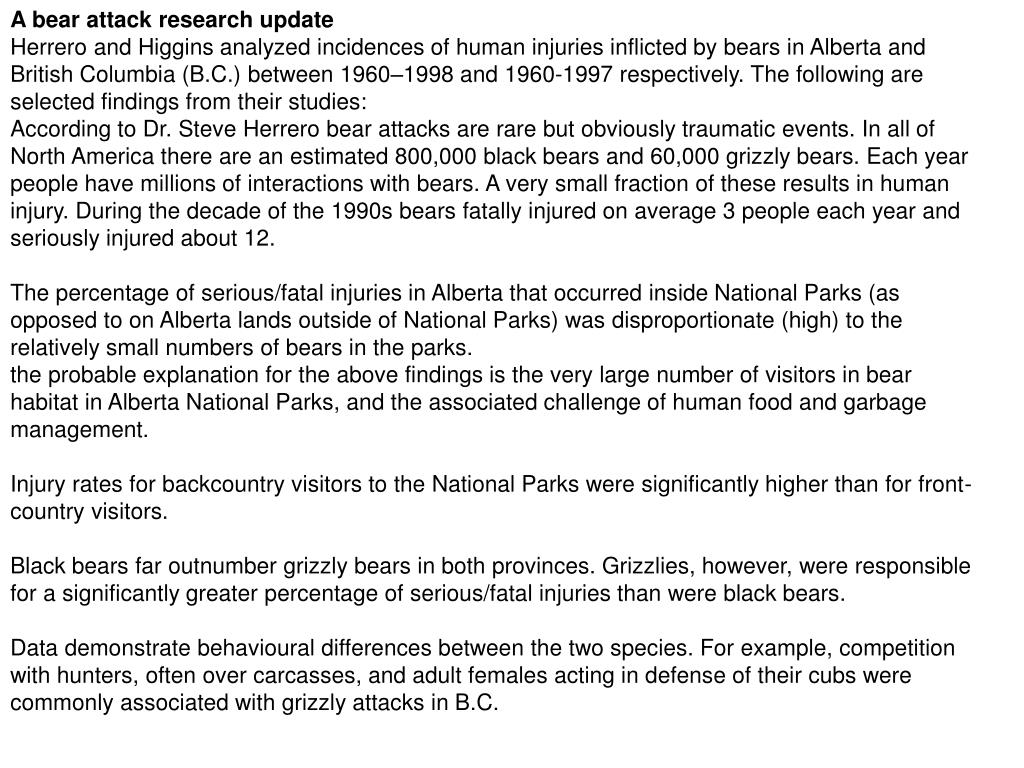 A bear attack research update