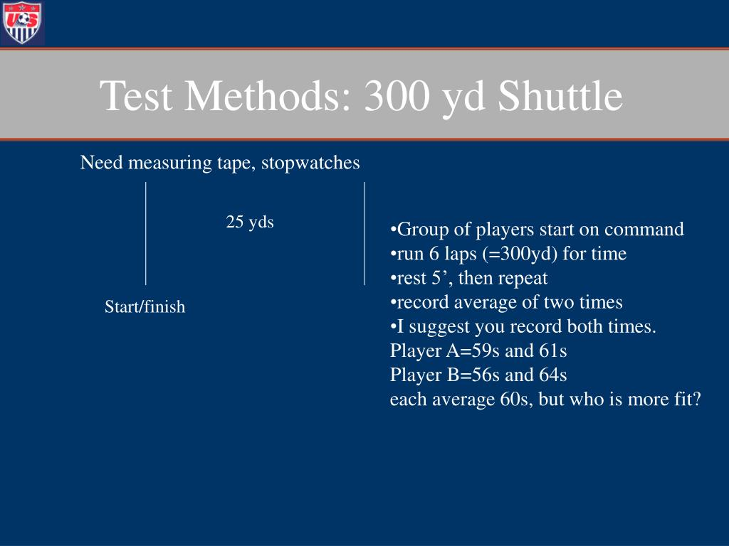 Test Methods: 300 yd Shuttle