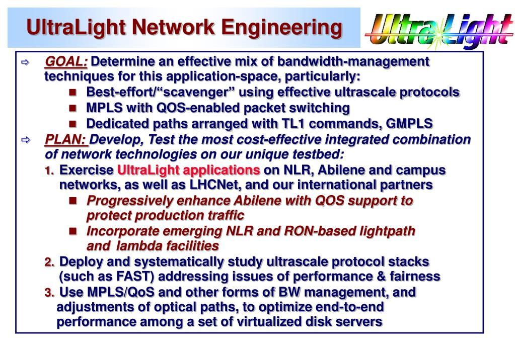 UltraLight Network Engineering