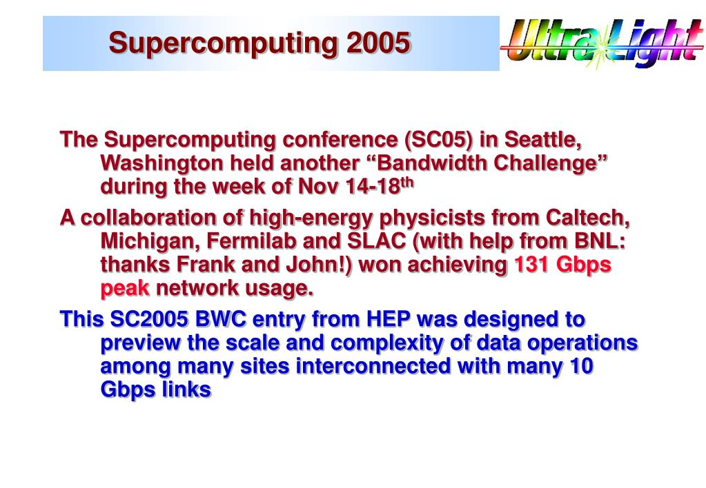 Supercomputing 2005