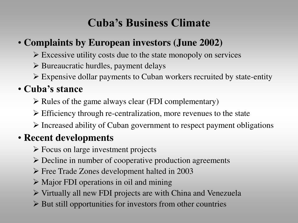 Cuba's Business Climate
