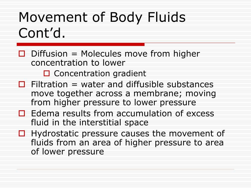 Movement of Body Fluids Cont'd.