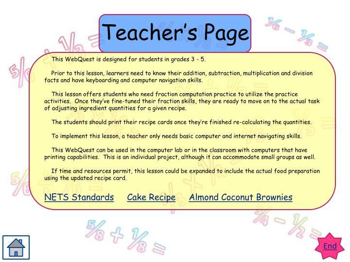 Teacher's Page