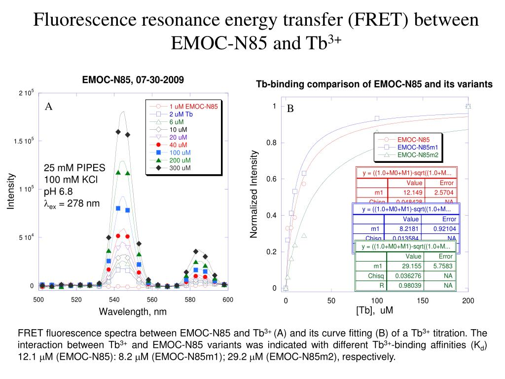 Fluorescence resonance energy transfer (FRET) between EMOC-N85 and Tb