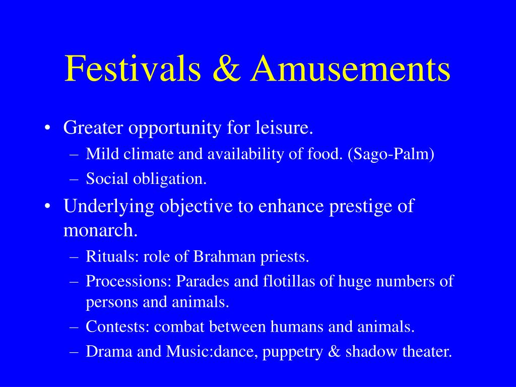 Festivals & Amusements