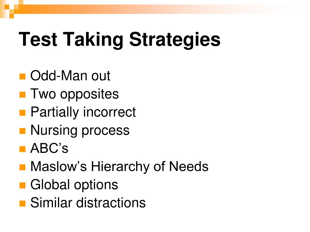 essay test taking strategies powerpoint Based on the classic test-wiseness principles of j millman, c h bishop, and r ebel, the star strategy streamlines the taking of timed tests before explaining the strategy to students, the instructor can convince students of the advantages of the strategy by administering a short test to determine students' test-wiseness.