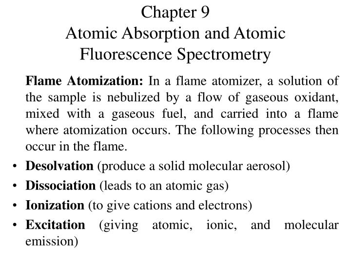 Chapter 9 atomic absorption and atomic fluorescence spectrometry