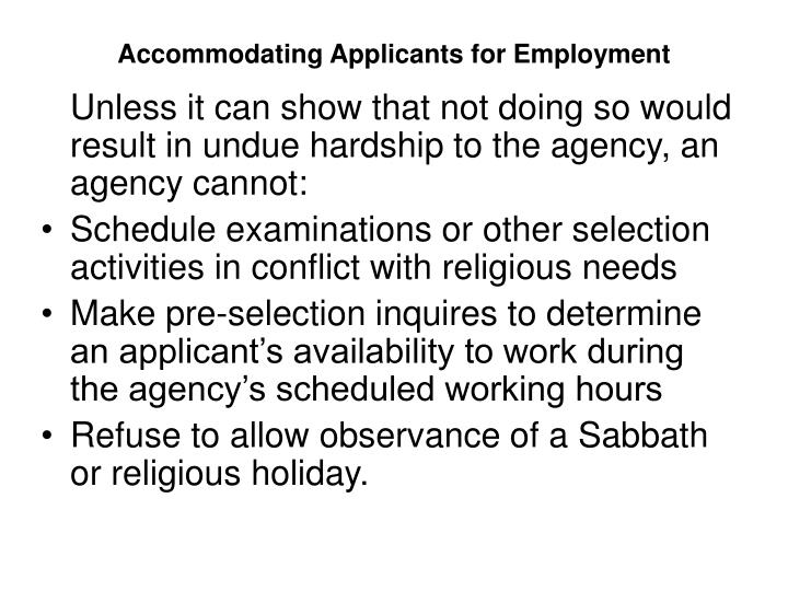 Accommodating Applicants for Employment