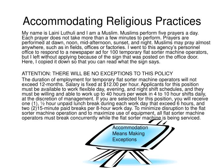 Accommodating Religious Practices
