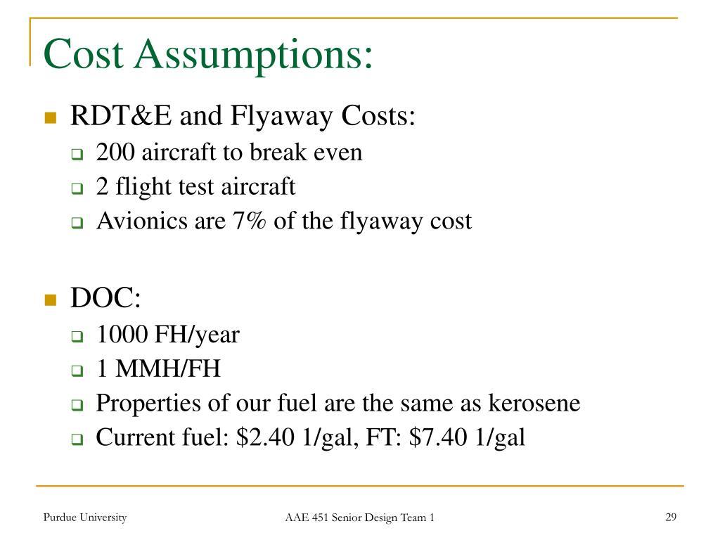 Cost Assumptions: