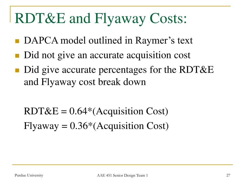 RDT&E and Flyaway Costs: