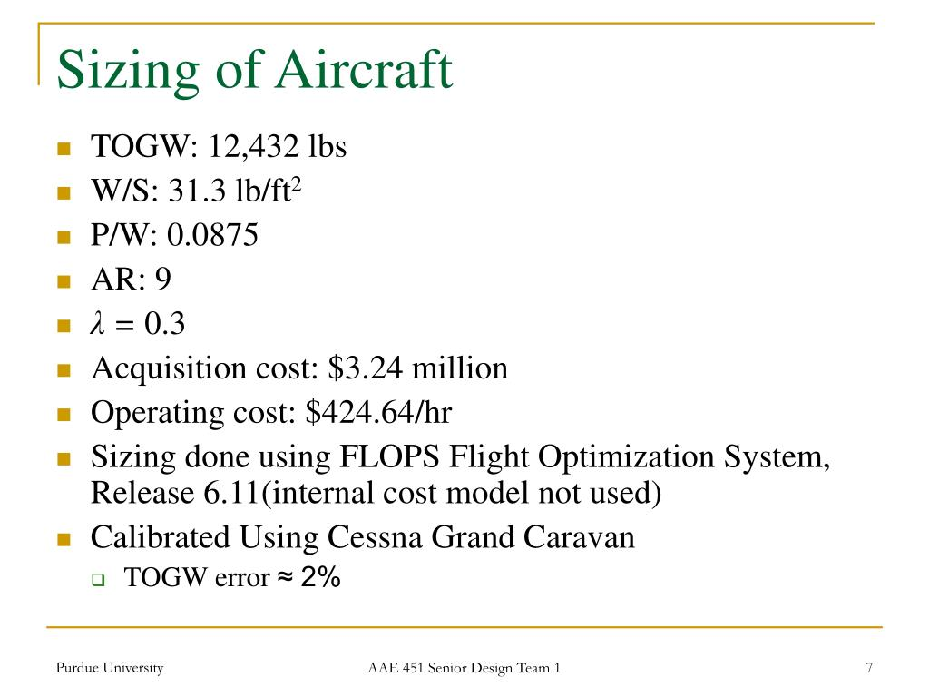 Sizing of Aircraft